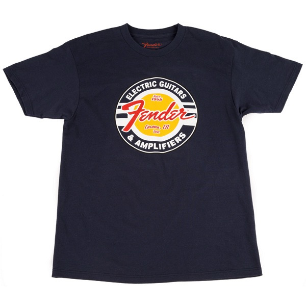 Fender Guitars and Amps Logo T-Shirt, Navy, XL - Bananas At Large®