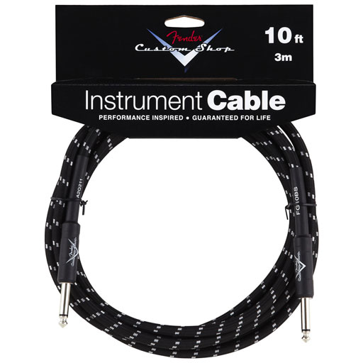 Fender Custom Shop Performance Series Cable, Straight to Straight 10ft, Black Tweed - Bananas at Large