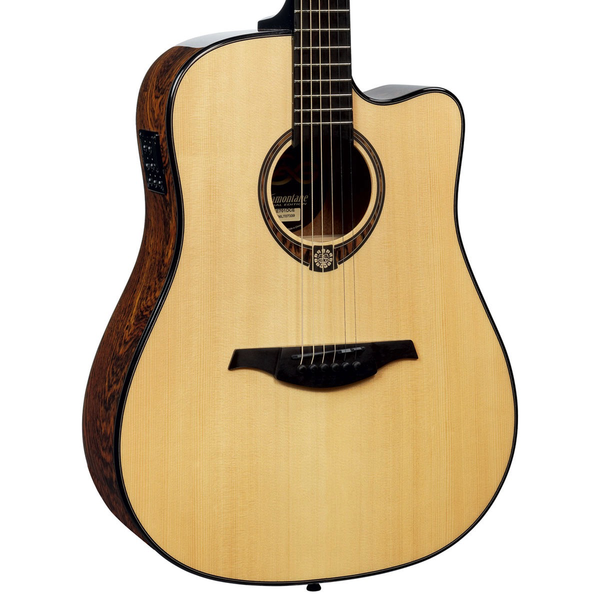 Lag TSE701DCE Snakewood Spruce Top Dreadnought Cutaway Acoustic-Electric Guitar with Hard Shell Case - Bananas at Large - 1