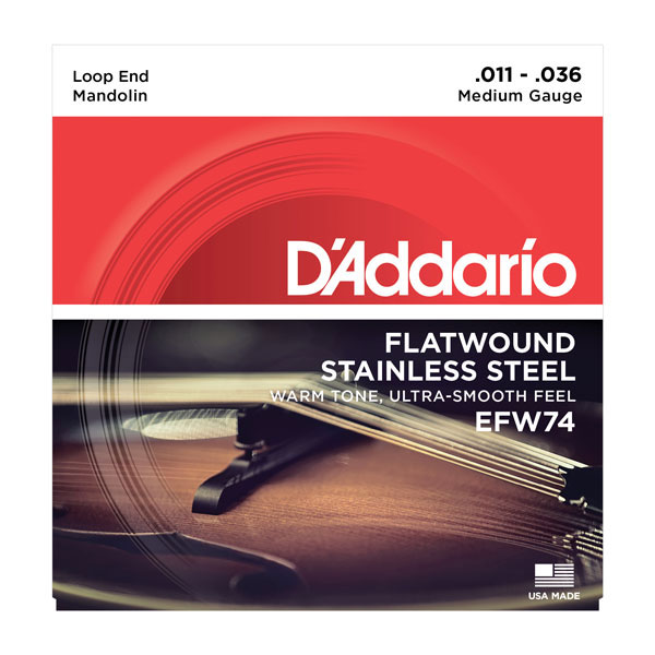 D'Addario EFW74 Medium Flat Wound Mandolin Strings 11-36 - Bananas at Large