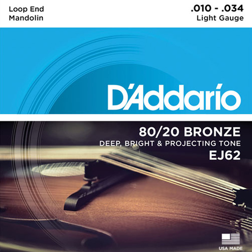 D'Addario EJ62 80/20 Bronze Mandolin Strings Light Loop End - Bananas at Large