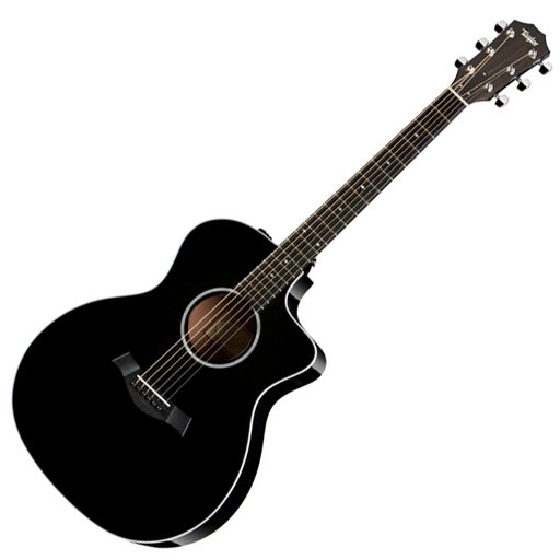 Taylor 214ce BLK DLX Grand Auditorium Acoustic-Electric Guitar, Black, ES2 - Bananas at Large