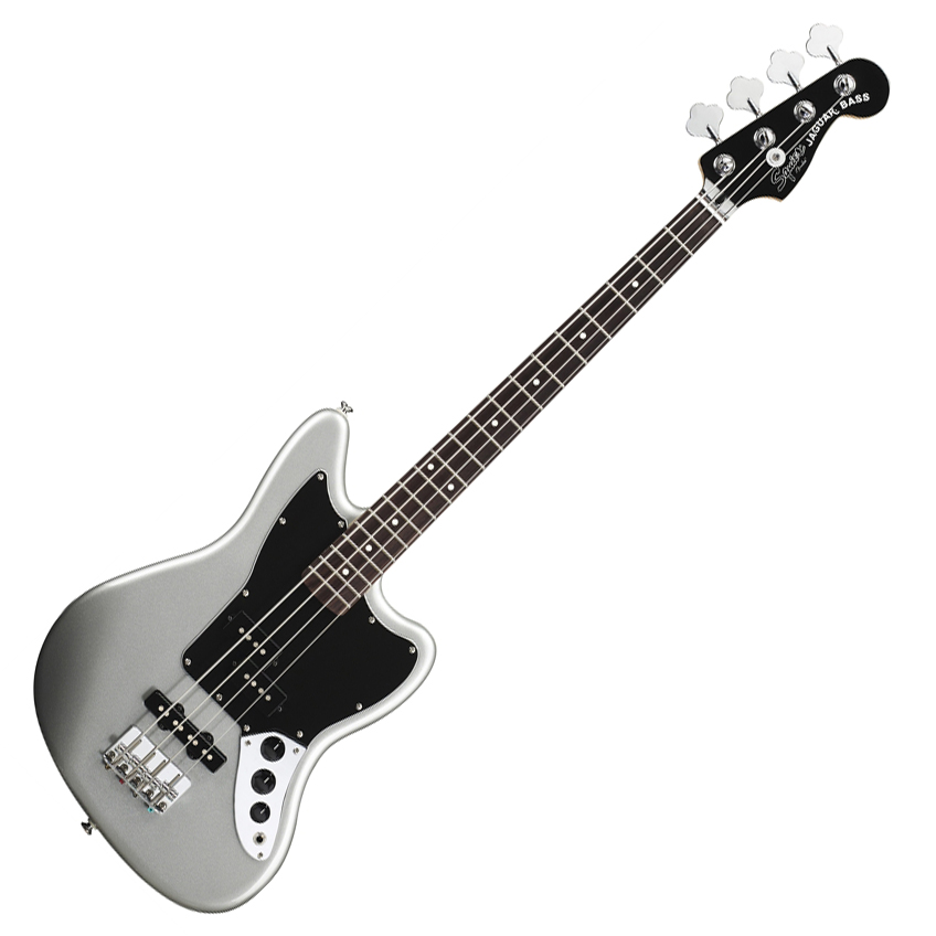 Squier Vintage Modified Jaguar Bass Special SS (Short Scale) with Rosewood Fingerboard - Silver - Bananas at Large
