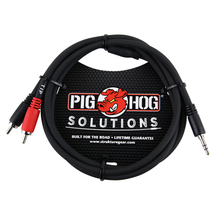 Pig Hog PB-S3R03 Solutions 3ft Stereo Breakout Cable, 3.5mm to Dual RCA - Bananas at Large - 1