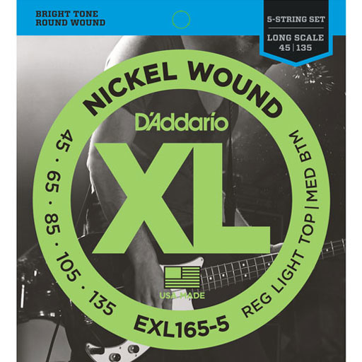 D'Addario EXL165-5 Nickel Wound 5-String Custom Light Long Scale Bass Strings 45-135 - Bananas At Large®