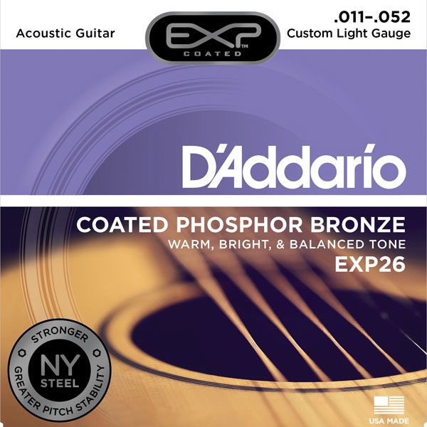 D'Addario EXP26 Coated Custom Light Phosphor Bronze Acoustic Guitar Strings 11-52 - Bananas At Large®