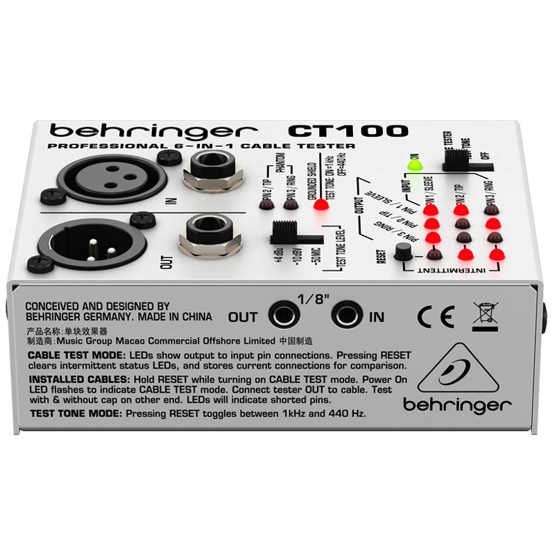 Behringer CT100 Swizz Army Style Cable Tester - Bananas At Large®