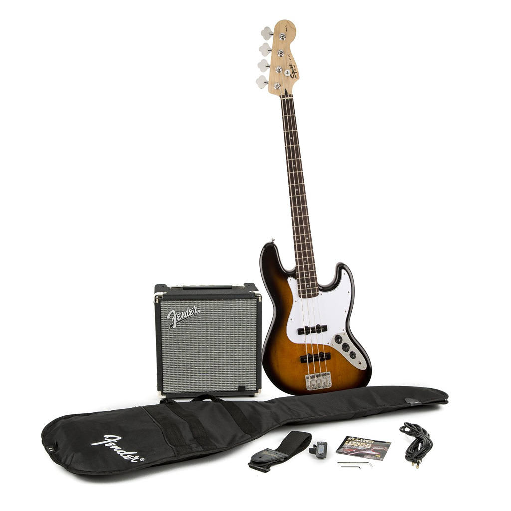 Squier Affinity Series Jazz Bass with Fender Rumble 15 Watt Amp Pack - Brown Sunburst - Bananas at Large - 2