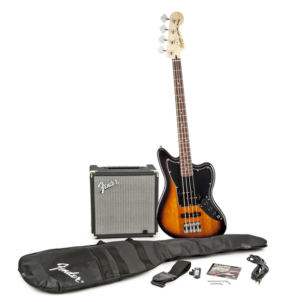 Squier Stop Dreaming Start Playing! Set: Jaguar Bass Special SS with Fender Rumble 15 Amp - Bananas at Large - 1