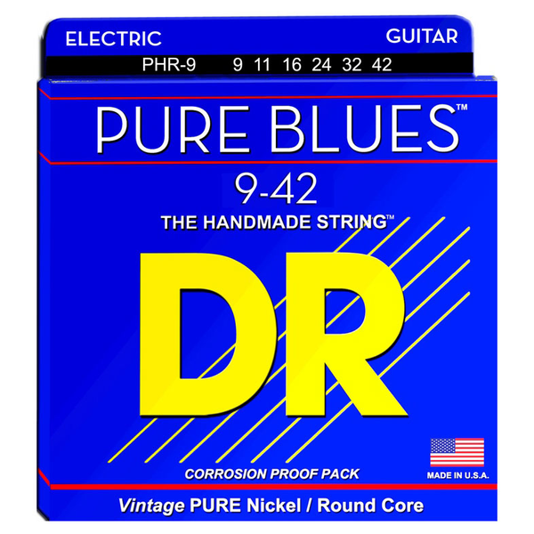 DR Strings PHR-9 Pure Blues Lite Pure Nickel Electric Guitar Strings 9-42 - Bananas At Large®