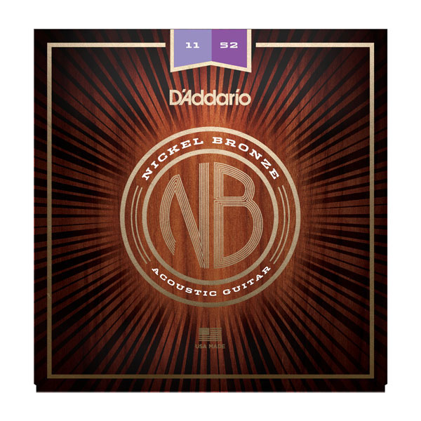 D'Addario NB1152 Nickel Bronze Custom Light Acoustic Guitar Strings 11-52 - Bananas At Large®