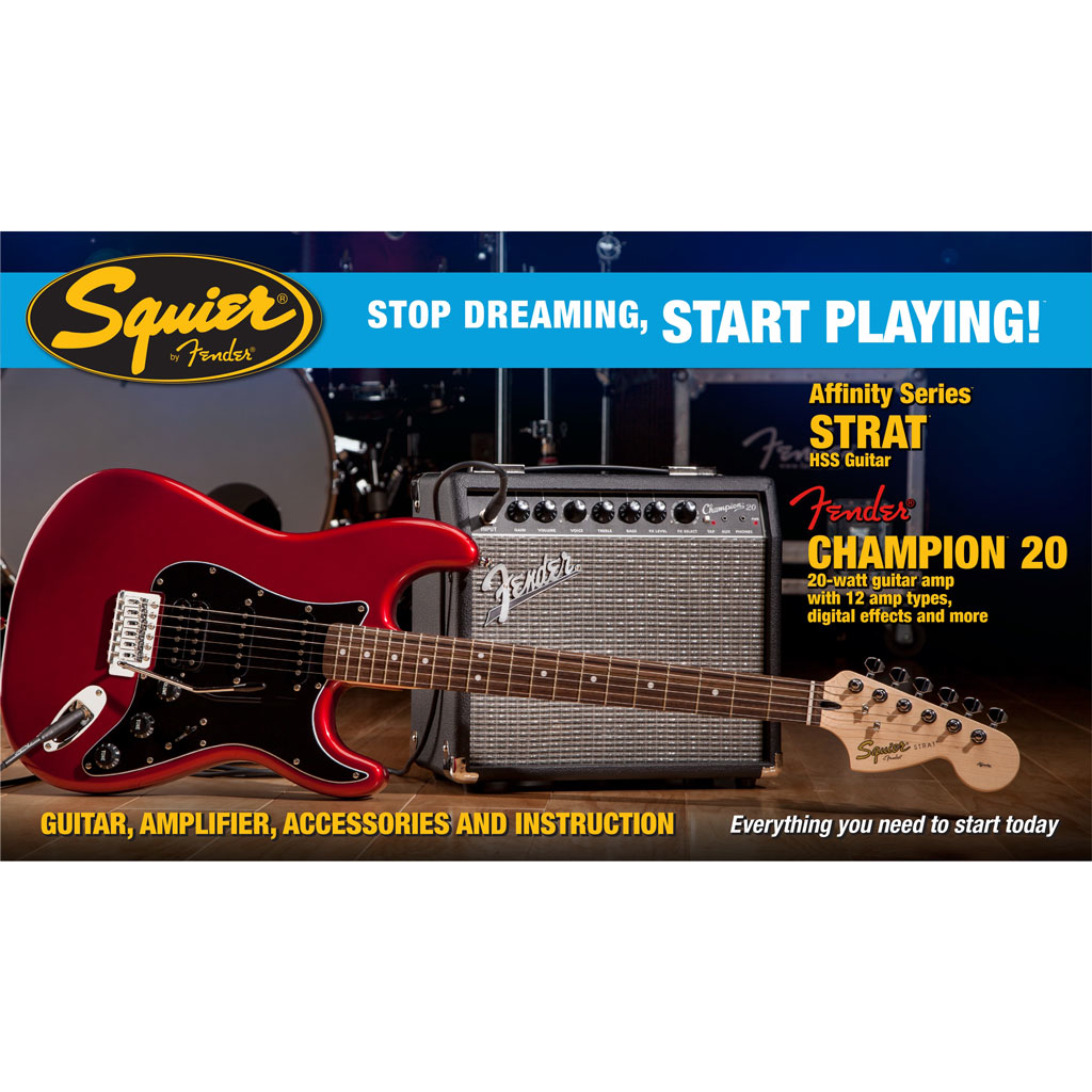 Squier Affinity Series Strat HSS with Fender Champion 20 Amp Pack - Candy Apple Red - Bananas at Large - 1