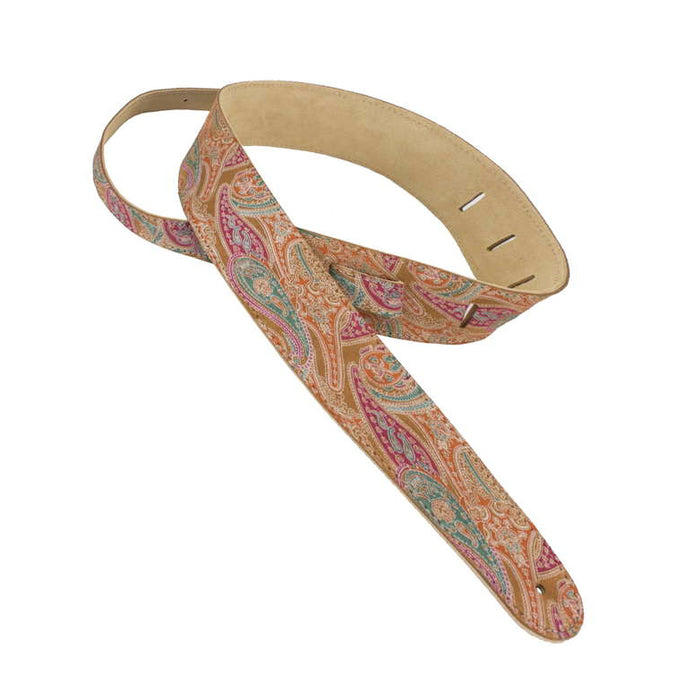 Henry Heller HCAP25P-TAN 2.5in Adjustable Luxe Paisley Capri Leather Guitar Strap