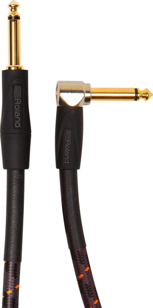Roland RIC-G10A Gold Series 10ft Instrument Cable with Angled to Straight 1/4 in. Jack - Bananas at Large