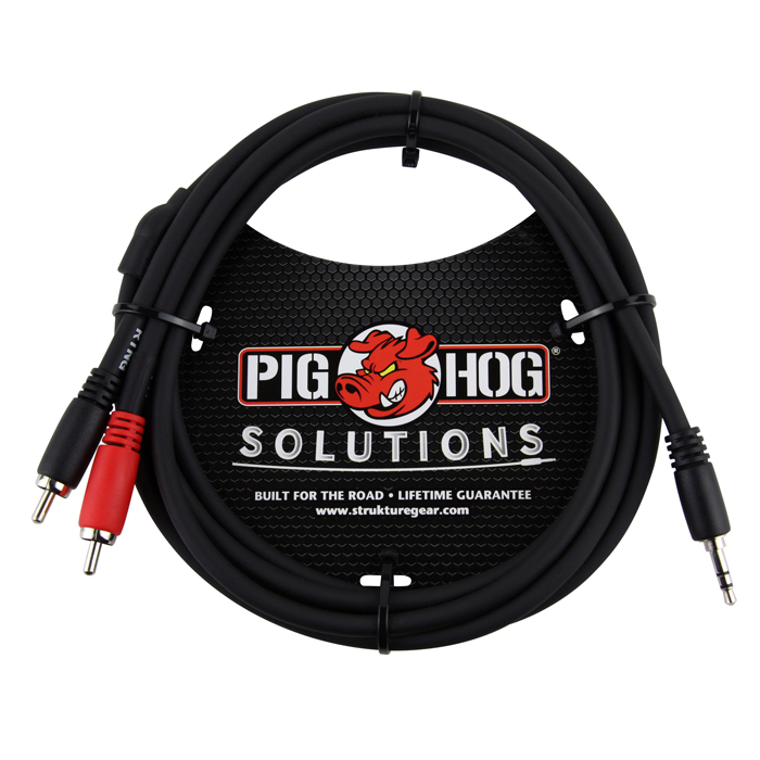 Pig Hog PB-S3R06 Solutions 6ft Stereo Breakout Cable, 3.5mm to Dual RCA - Bananas at Large - 1