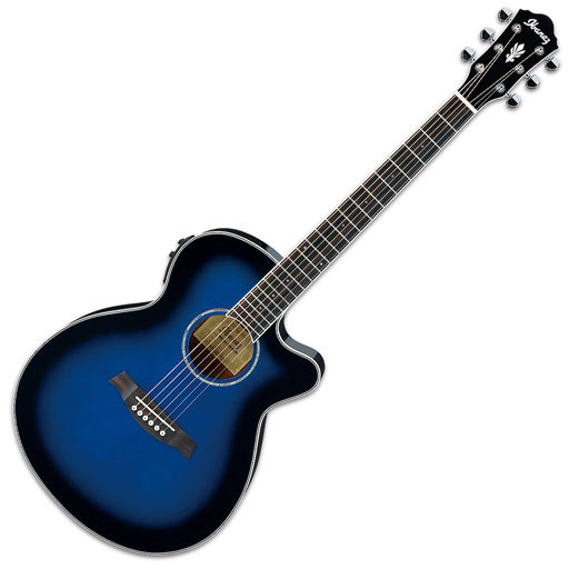Ibanez AEG10II Cutaway Acoustic Electric Guitar - Transparent Blue Sunburst - Bananas At Large®