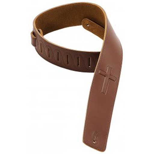 Levy's 2 1/2 in. wide brown genuine leather guitar strap.