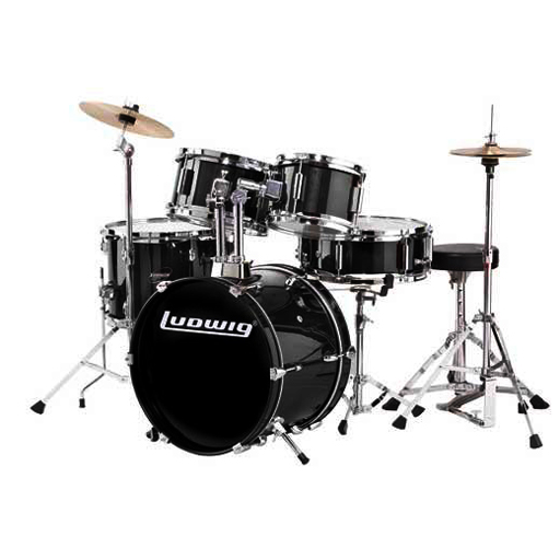 Ludwig JR Series LJR106 5-Piece Drum Set with Cymbals - Black (Open Box)