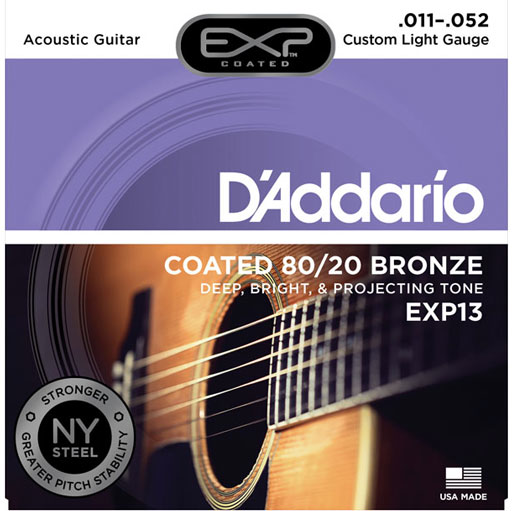 D'Addario EXP13 Coated 80/20 Bronze Custom Light Acoustic Guitar Strings 11-52 - Bananas At Large®