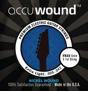 Accuwound USA Electric Guitar String Set with Free High E String Light 09-42 - Bananas At Large®