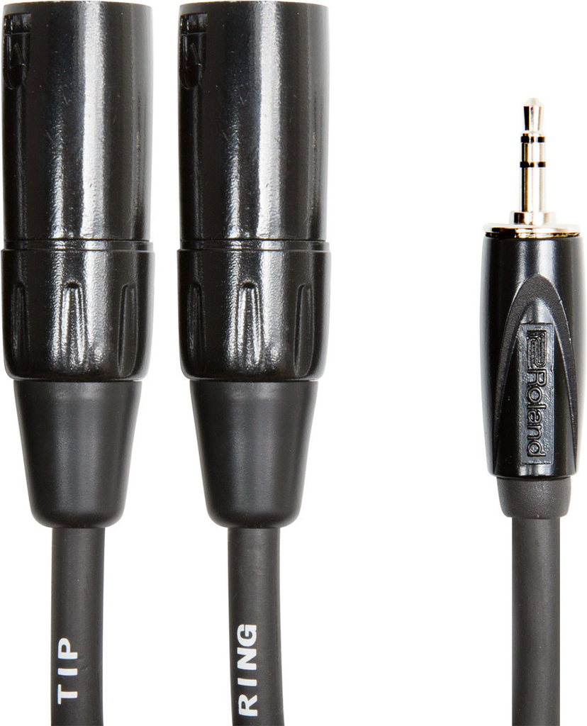 Roland RCC-10-352XM Black Series 10ft. Balanced Interconnect Cable with 1/8 in. TRS to Two XLR Male - Bananas at Large