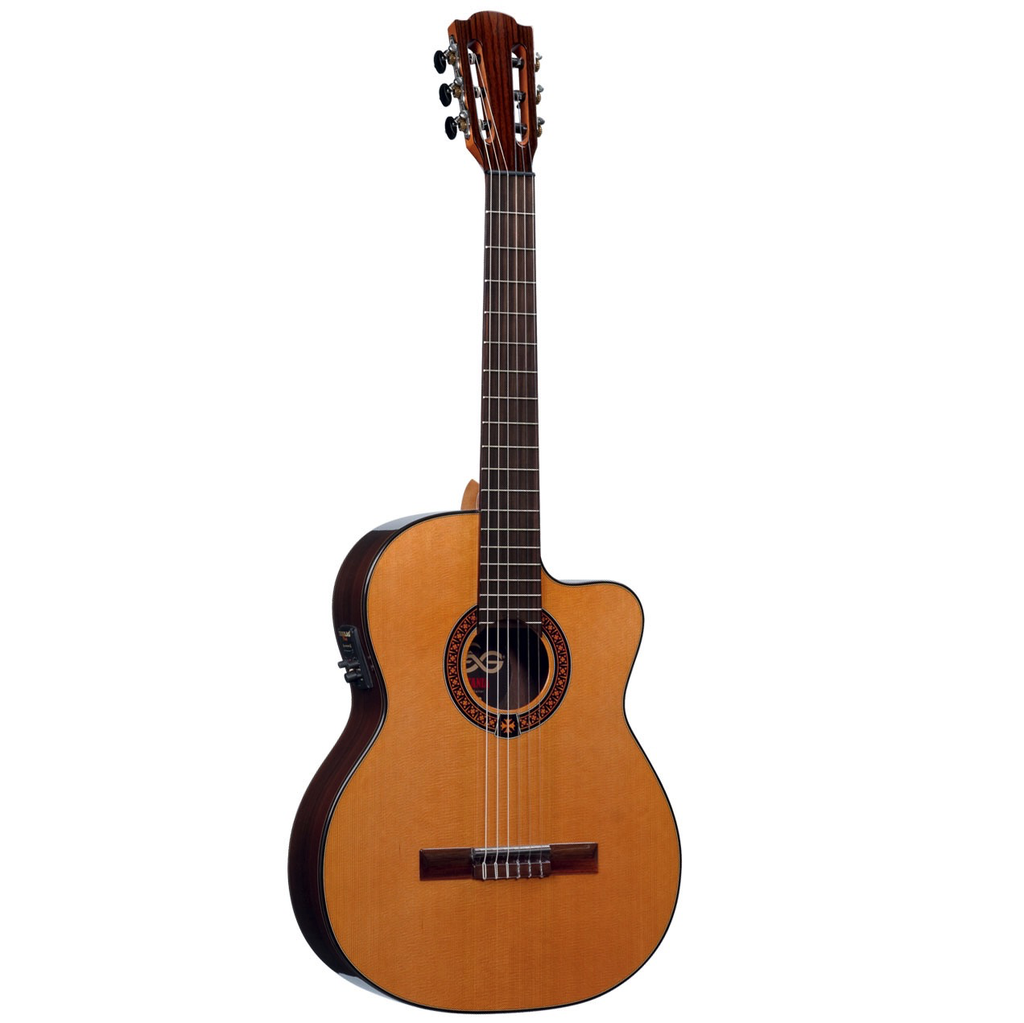 Lag Occitania OC300CE Solid Red Cedar Top, Cutaway Electric, Studio Lag Plus - Bananas at Large - 1