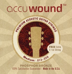 Accuwound USA Acoustic Phosphor Bronze Set with Free High E String Medium 13.-56 - Bananas At Large®