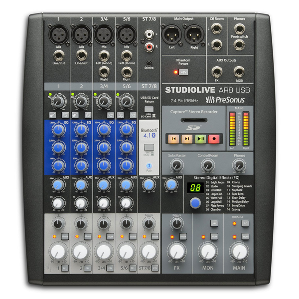 Presonus StudioLive AR8 USB 8-Channel Hybrid Digital/Analog Performance Mixer - Bananas at Large - 1