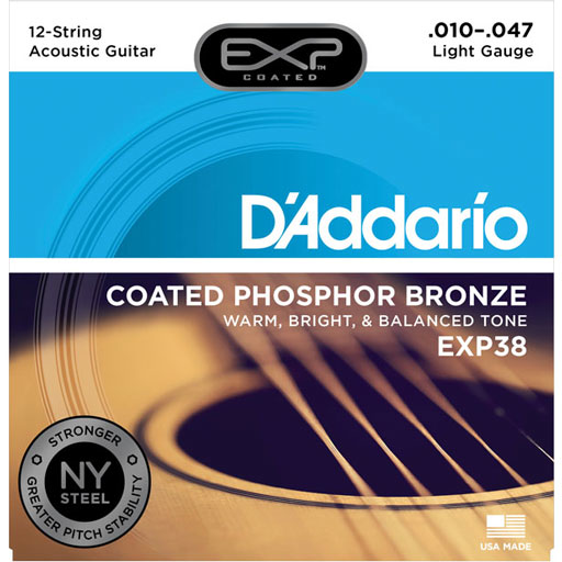 DAddario EXP38 Acoustic Coated Phosphor Bronze 12-String Light 10-47 - Bananas At Large®