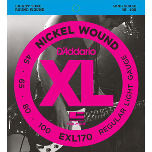 D'Addario EXL170 Nickel Wound Long Scale Bass Light Strings 45-100 - Bananas At Large®