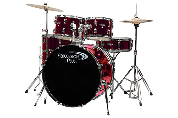 Percussion Plus 4100 Complete 5 Piece Drum Kit - Brushed Red