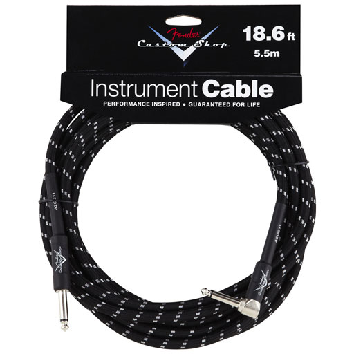 Fender Custom Shop Performance Series Cable, Sraight to Right 18.6ft, Black Tweed - Bananas At Large®
