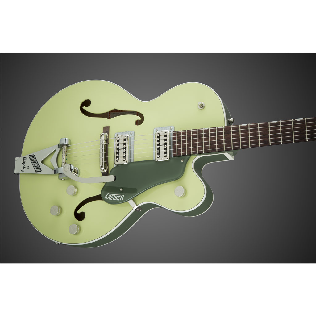 Gretsch G6118T-SGR Players Edition Anniversary With String-Thru Bigsby and FilterTron Pickups - 2 Tone Smoke Green - Bananas at Large - 3