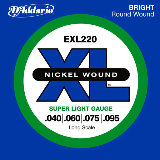 DAddario EXL220 Nickel Wound Bass Strings Super Light 40-95 Long Scale - Bananas At Large®