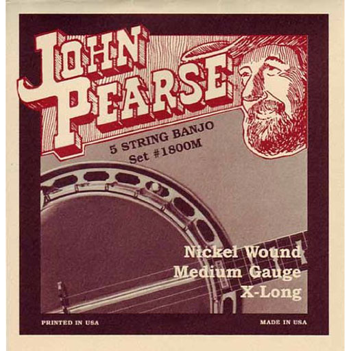John Pearse 1800M Nickel Wound 5-String Banjo - Medium - Bananas At Large®