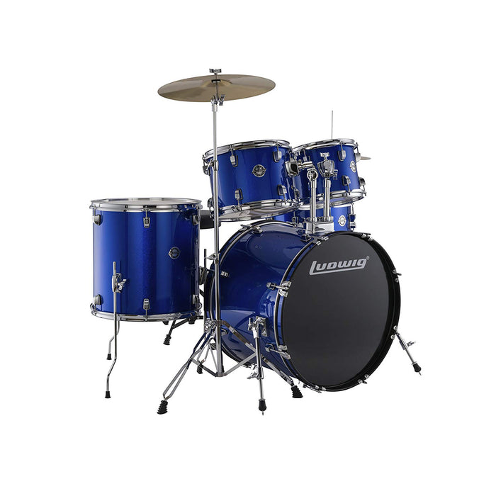 Ludwig Accent Fuse 5-Piece Drum Set with Cymbals and Hardware - Blue