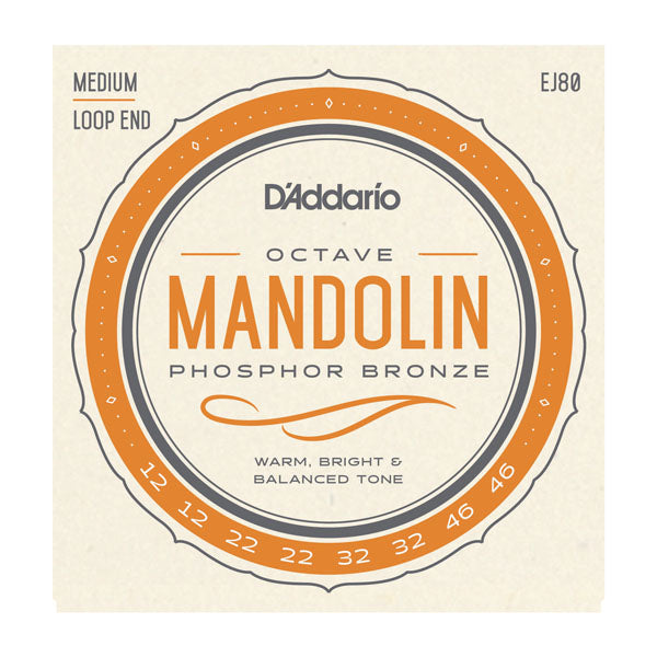 D'Addario EJ80 Mandolin Strings, Phosphor Bronze, Light, 12-46