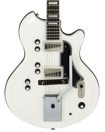 Supro 1593VEW Martinique Deluxe Americana Series Semi-Hollow Body Electric Guitar - Ermine White - Bananas at Large - 1