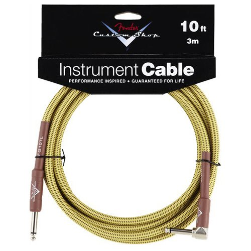 Fender Custom Shop Instrument Cable 10ft A/S Tweed, Straight to Right Angled - Bananas At Large®