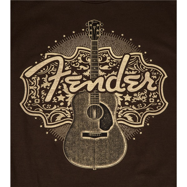 Fender Country Western Acoustic T-Shirt, Brown, XL - Bananas at Large - 2