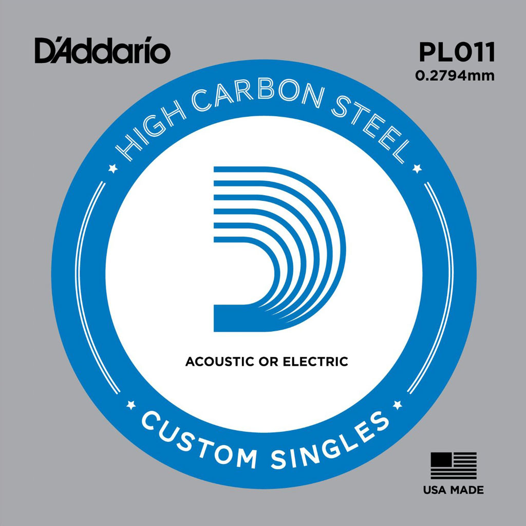 D'Addario PL011 Acoustic Plain Steel Single Pack 011 - Bananas At Large®
