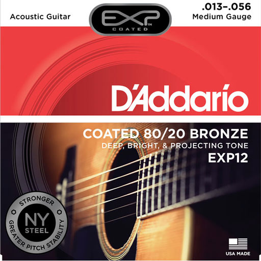 DAddario EXP12 Coated 80-20 Bronze Acoustic Guitar Strings - Medium 13-56 - Bananas at Large