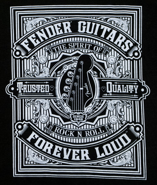Fender Forever Loud Trusted Quality T-Shirt, Black, L - Bananas At Large®