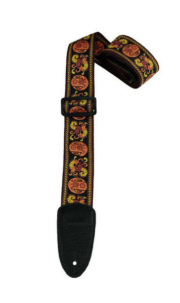 Henry Heller HJQ2-08 2 in. Hand Sewn Deluxe Multi Color Jacquard Guitar Strap - Bananas at Large