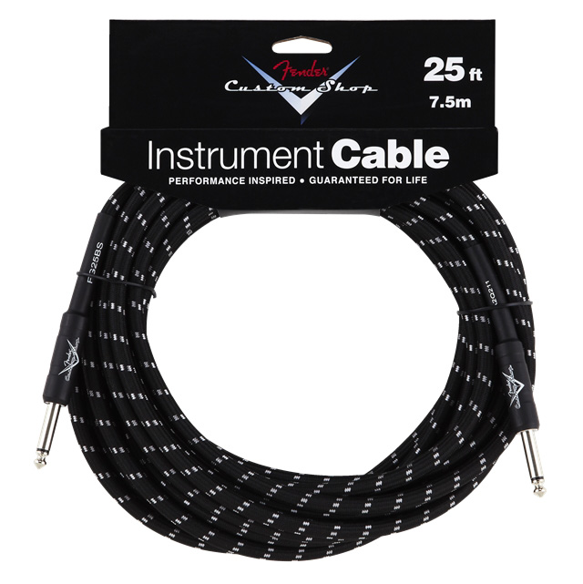 Fender 25 ft. Custom Shop Performance Series Cable Straight to Straight Angle - Black Tweed - Bananas At Large®