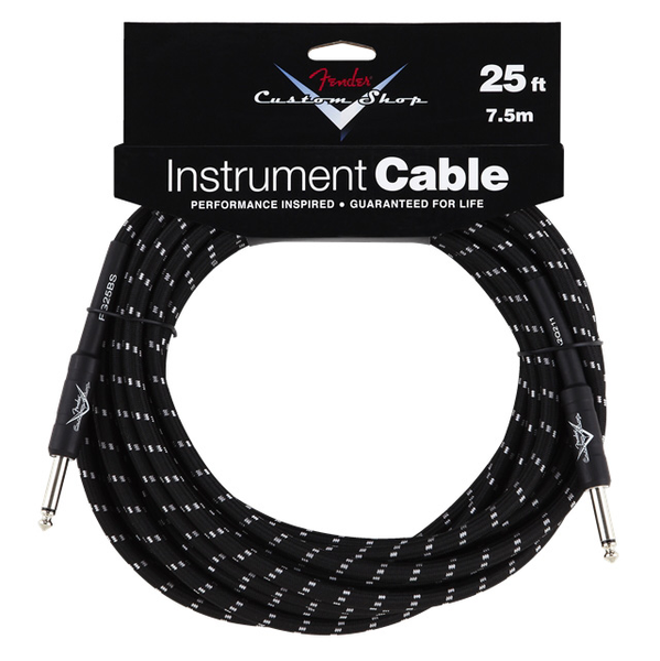 Fender 25 ft. Custom Shop Performance Series Cable Straight to Straight Angle - Black Tweed - Bananas at Large