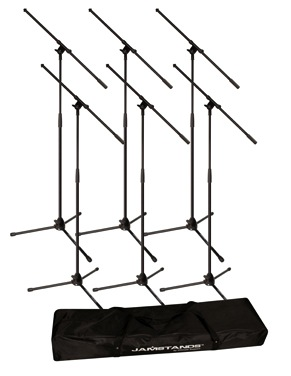 Ultimate Support JamStand JS-MCFB6PK Six Tripod Mic Stands with Carrying Bag - Bananas at Large