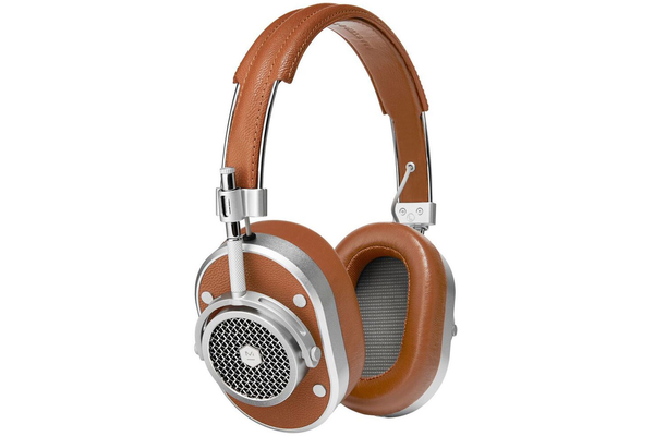 Master & Dynamic MH40S2 Over Ear Headphones - Silver Metal/Brown Leather