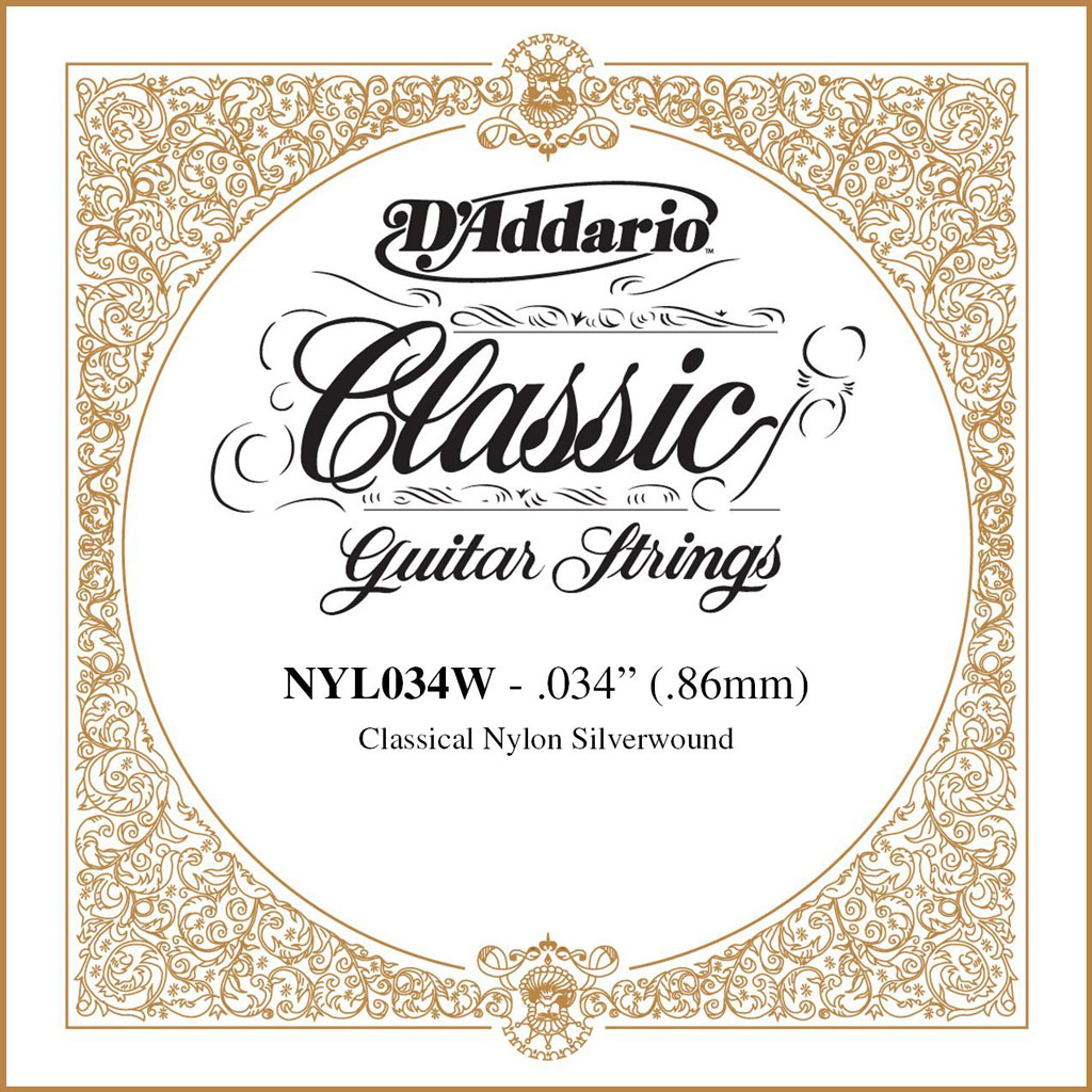 D'addario NYL034W Classical Single Silver Wound Strings 034 - Bananas At Large®