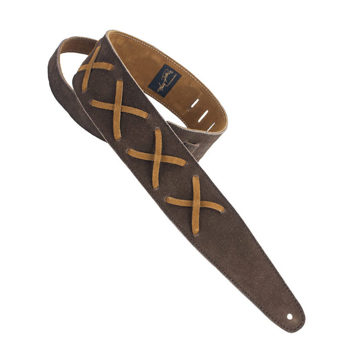 Henry Heller Double Layer Premium Suede Guitar Strap with Leather X's, Chocolate/Brown